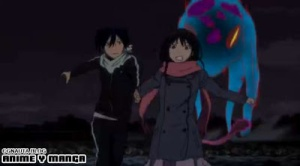 noragami episode 1yato and hiyori